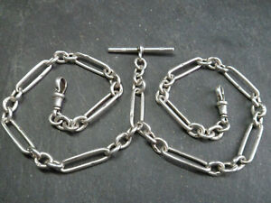 111YO Antique HEAVY 46g CHUNKY Solid Silver Double Albert Pocket Watch Chain