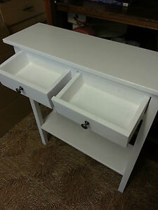 H100 W100 D25cm BESPOKE LAURA ASHLEY IVORY CONSOLE HALL TABLE 2 DRAWERS CHUNKY