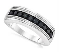 Men's Sterling Silver Black Diamond Band .50ct .925 Channel Set Ring 10-Stone