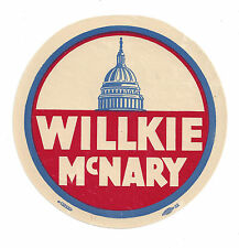 1940 WENDELL WILLKIE PICTURE CAMPAIGN AUTO WINDOW DECAL
