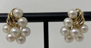 VTG 14k Yellow Gold Diamond White Pearl Cluster Earrings Omega Pierced Backs