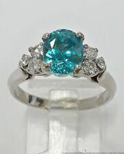 Approx 2.36ct Blue Zircon .40ctw Fine White Diamond 14K Gold Ladies Ring Sz7.75