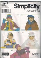 4847 Vintage Simplicity SEWING Pattern Girls Hats Scarves Mittens S M L UNCUT