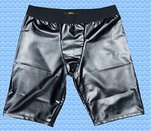 Ju/He. Anatomische Kunstleder Boxer - Shorts schwarz glänzend Gr. L/XL