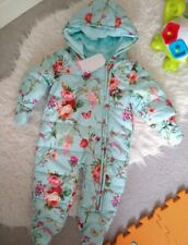 Next 0-3 Baby girl teal Pramsuit Snowsuit New