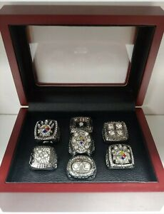 Pittsburgh Steelers - Super Bowl Silver Color 7 Ring Set w Box. Roethlisburger
