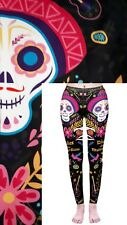 Soft Matte Fabric Halloween Scull Print Leggings Trousers One Size (UK 8-12)