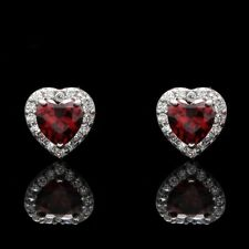 1CT Halo Heart Earrings Red Garnet Created Diamond Studs 14K Solid White Gold