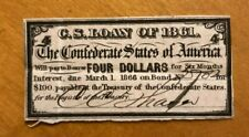1861 Bond Notes $2 and $4 Confederate States - Authentic Civil War(Lot of 3)
