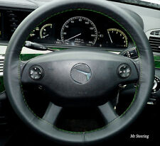 Per Mercedes E Classe W212 09-15 VERA PELLE NERA VOLANTE COPERTURA VERDE ST