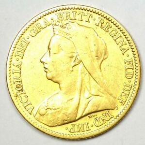 1901 Great Britain England Victoria Gold Half Sovereign UK Coin 1/2S - Rare!