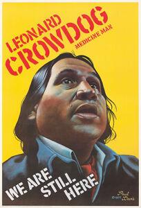 Original Vintage Affiche Indien D'Amérique Civil Droits Leonard Crowdog 70s
