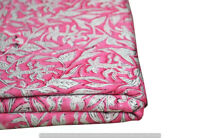 Indian 100% Cotton Voile Fabric pink Multi Sewing Hand Block Print Craft 10 yard