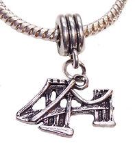 Brooklyn Bridge New York City Landmark Dangle Bead for European Charm Bracelets