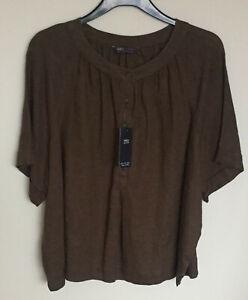 Marks & Spencer M&S Size 20 Khaki Pure Linen Easy Iron Short Sleeve Blouse Bnwt