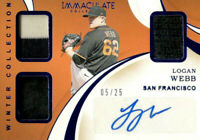 2020 Panin Immaculate Logan Webb /25 Winter Collection Triple Jersey Auto Giants