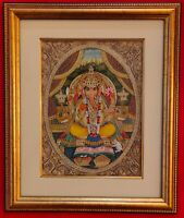 Hand Painted Ganesh Ganesha God Miniature Painting India Artwork Framed