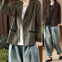 Womens Casual Loose Cotton Linen Coat Jacket Ladies Cardigan Suit Blazer Outwear