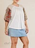 Umgee | Off White Sheer Floral Mixed Print Long Puff Sleeve Plus Size Top | NWT