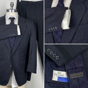 Holland & Sherry Made To Measure Glen Plaid Suit 42S Pants 35 x 27 + H&S Tie