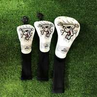 White&Skull Embroidery Golf Club Driver Fairway Wood Hybrid Head Cover For Ping