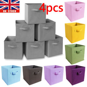 4 8pcs Foldable Storage Bin Cube Boxes with Handle Linen Fabric Container Basket
