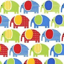 Graisse trim Urban Zoologie éléphants sur coton blanc tissu de matelassage Robert Kaufman