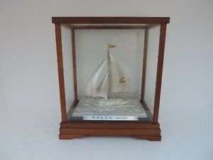 RARE VINTAGE FINE JAPANESE SOLID STERLING SILVER 970 PEACE SHIP SAILBOAT YACHT
