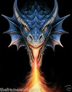 ANNE STOKES ART FIRE BREATHER DRAGON - 3D FANTASY PICTURE PRINT LARGE 300X400mm