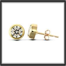 9ct Gold 6mm Man's Simulated Diamond rub over Stud Earring x 1 SINGLE