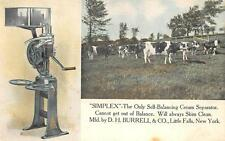 SIMPLEX CREAM SEPARATOR COWS FARMING MACHINERY NEW YORK ADVERTISING POSTCARD