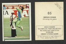AUSTRALIA 1982 SCANLENS CRICKET STICKERS SERIES I - IMRAN KHAN (PAKISTAN) # 65