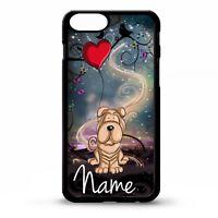 Shar pei cute dog cartoon graphic art personalised name phone case cover