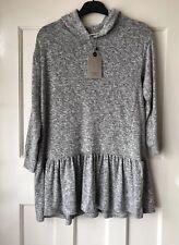 Zara Kids Girls Grey Marl Soft Hooded Frill Dress Size 8 Years BNWT