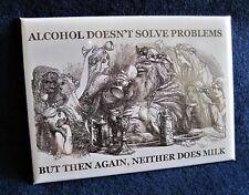 ALCOHOL vs. MILK - Mini Metal Sign - Refrigerator Fridge Magnet Toolbox Locker