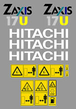 HITACHI ZAXIS 17U MINI DIGGER COMPLETE DECAL SET WITH SAFETY WARNING SIGNS