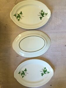 """3 Prizerware Green Ivy Enamel Cast Iron Meat Steak Plate Platter Tray 13"""" SP 1"""