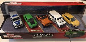 MAJORETTE 4x4 SUV 5 Cars Set (Merc G63 Police, Urus ST-X, Jeep, Defender & Urus)
