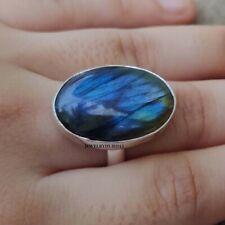Natural Labradorite 925 Sterling Silver Ring Meditation Ring Size 8.5 ro200206