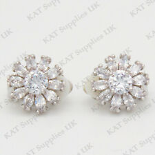 CLIP ON Earrings Crystal Silver Rhinestone Fake Studs Non Pierced Ear Round #44