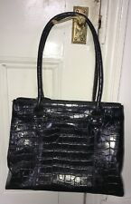 Osprey Black Polished Croc Leather Shoulder Bag/Handbag Large 3 Compartments