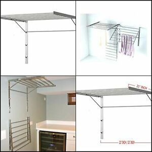 Clothes Laundry Drying Rack Heavy Duty Stainless Steel Wall Mounted Folding