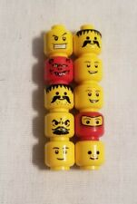 Lego Lot Of 10 Mixed Random Used Minifig Heads Faces Body Parts Smile People H24