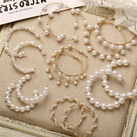 Fashion Women Gold Pearl Big Circle Statement Drop Earrings Dangle Wedding Gifts
