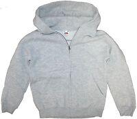 Fruit of the Loom Kids Hooded Zip-Up Sweatshirt Jacket Grey Marl
