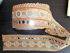 Espejo de Oro Naranja Encaje Boda Baile de India Disfraz cinta Apliques De Cristal
