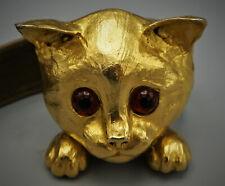 1976 CRISTOPHER ROSS HANDMADE 24 K GOLD PLATED BRASS KITTEN CAT BELT BUCKLE