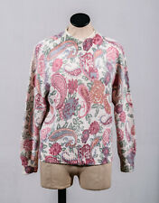 80s De Rotchild 55% Silk 10% Angora Pink Floral Paisley Mock Neck Sweater Sz L