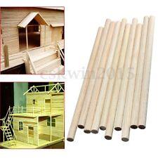 "10Pcs 8"" Round Wooden Stick Dowel Sweet Tree Making Trunk Pole Hobby Craft"