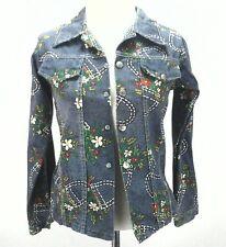 Montgomery Ward Vintage Kids Girls Flowers Print Denim Light Jacket Size ?